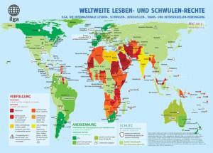 Eine Regenbogenfamilie unterwegs - ILGA World MAP 2013, © www.ilga.org