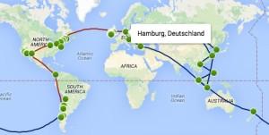 """Vorbereitungen einer Weltreise oder """"Mein Schwert kommt mit"""" - unsere Route - © OpenStreetMap-Mitwirkende, www.openstreetmap.org"""