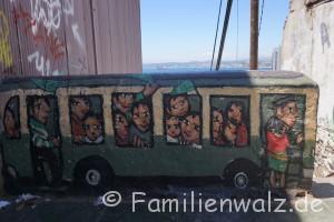 Mauerkunst am Meer - Staunen in Valparaiso - in Valparaiso